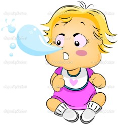 Baby with Runny Nose with clipping path